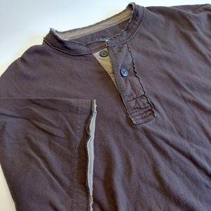 Brown Short Sleeve Henley Men's Shirt Size Medium